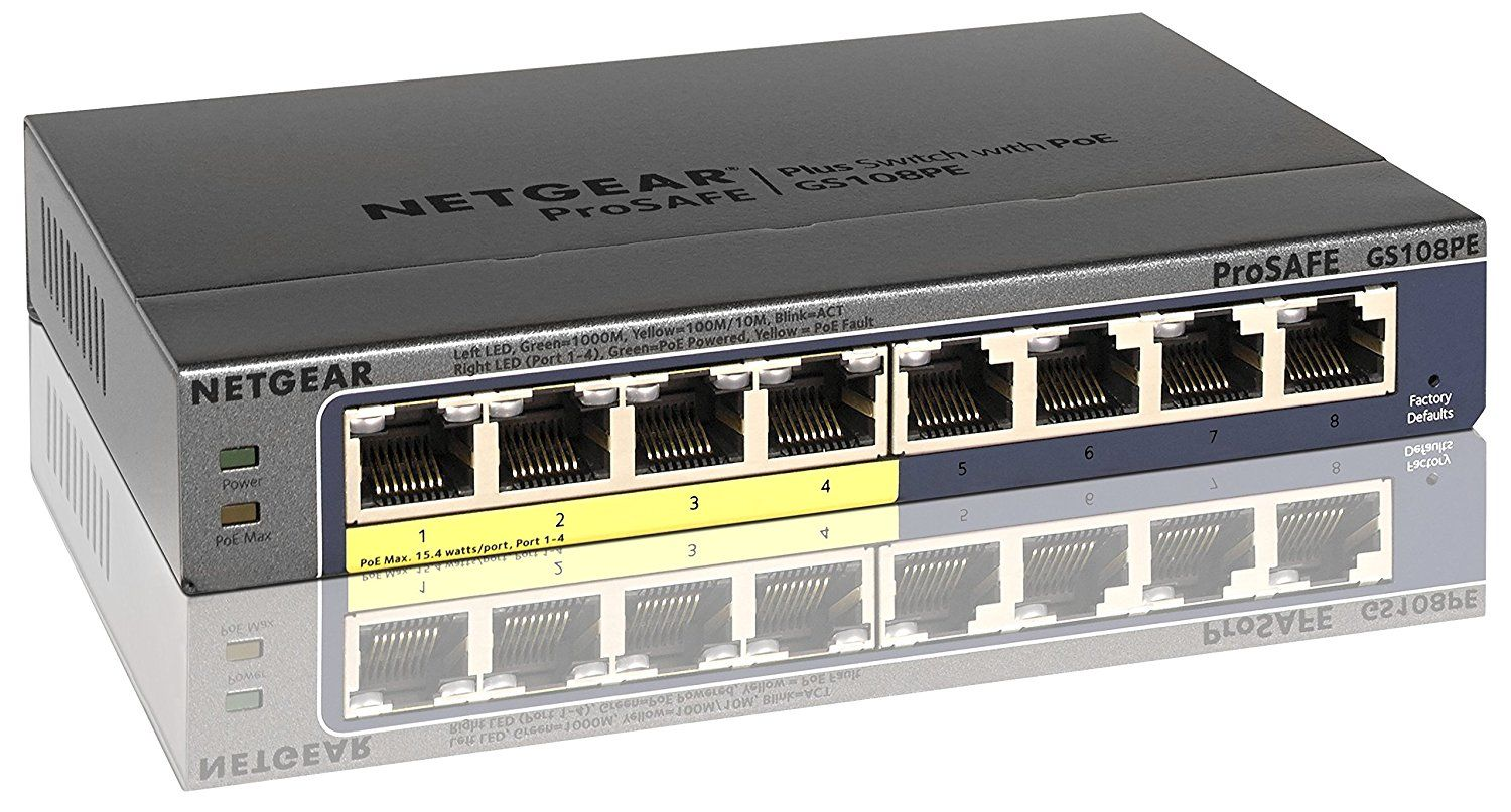 Netgear Prosafe 8 Port Poe Gigabit Smart Managed Switch With 2 Sfp Wiring Multiple Ethernet Switches Advanced Per Controls For Remote Power Management Of Connected Devices Including Operation Scheduling Simplifies Wireless Aps